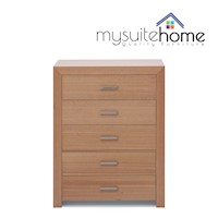 Madison Tasmanian Oak Tallboy Dresser w/ 5 Drawers