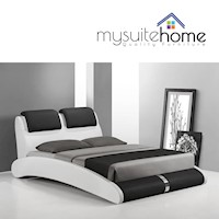 Marco Modern PU Leather King Bed Frame Black White