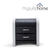 Marco Bedside Table Night Stand Black/White Leather