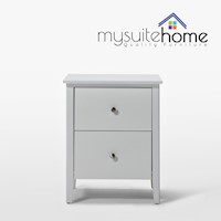 Welton Bedside Table Night Stand White w/ 2 Drawers