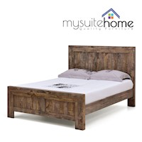 Boston King Bed Frame Rustic Pine Recycled Timber
