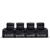 Anna Electric Recliner Leather Armchair for 4 Black