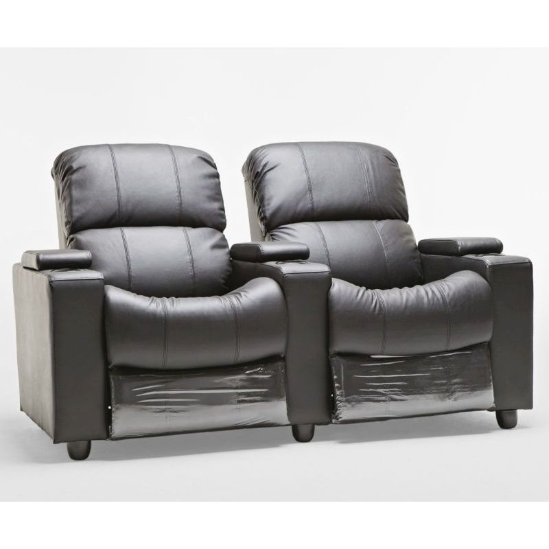 Sophie Black Leather Sofa 2 Seater Recliner Lounge Buy