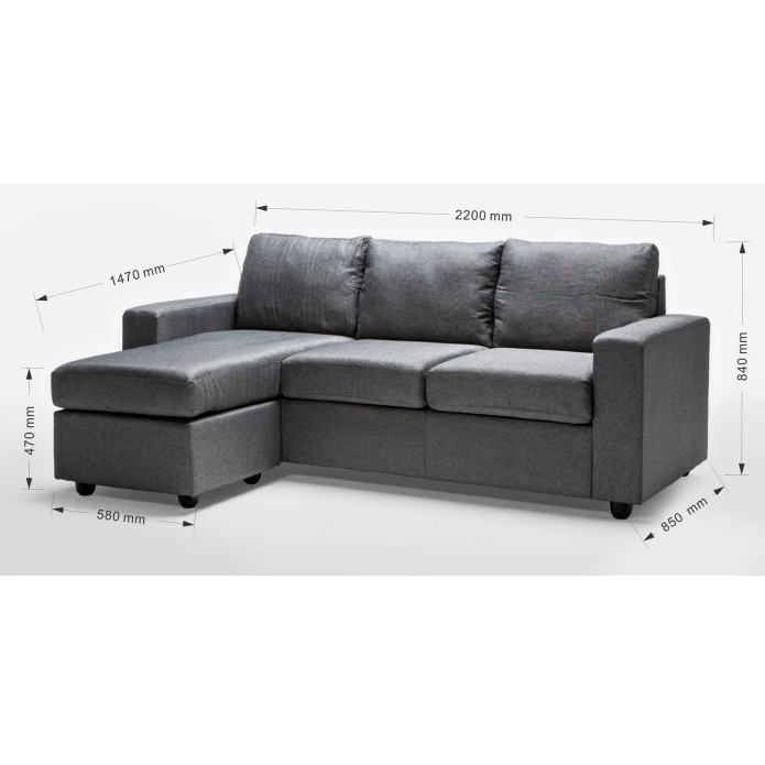 Ella 3 seater sofa couch with chaise lounge in grey buy for 1 seater chaise lounge