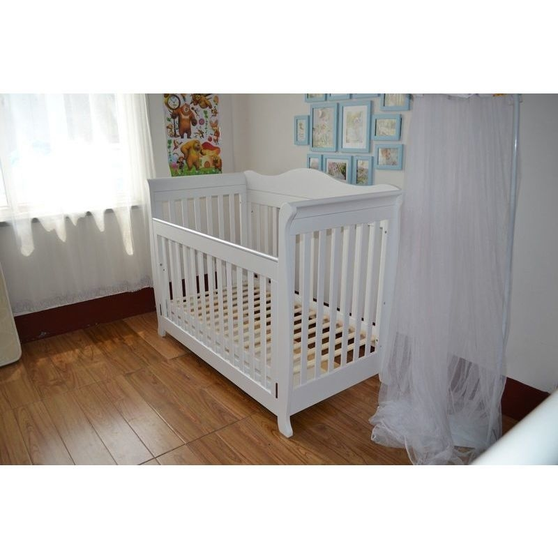 Wooden Sleigh Baby Cot Toddler Bed W Mattress White
