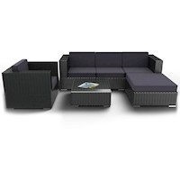 Tahiti 6 Piece Outdoor Sofa Setting in Black