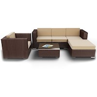 Tahiti Outdoor Sofa Setting, 6 Piece, Brown