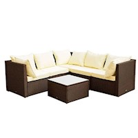Miami Outdoor Sofa Setting with 5 Seats in Brown