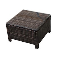 Outdoor Wicker Side Coffee Table w/ Glass Top Brown