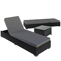 Wicker Outdoor Sun Lounger Beds Set w Side Table