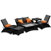 Jamaica Outdoor Sofa Lounge Set Black PE Wicker 6pc