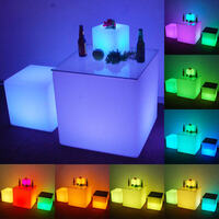 Outdoor Illuminated Glow LED Light Cube Chair 40cm