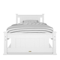 Akoni Single Size Wooden Bed Frame in White