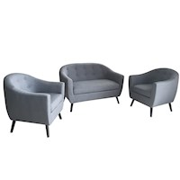 Kouvola Scandinavian Couch Set for 4 in Azure Grey