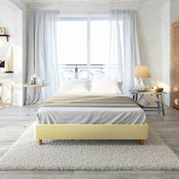 Froya Double Faux Linen Ensemble Bed Base in Beige