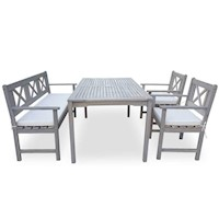 Newport 4pc Outdoor Dining Set in Grey Wash Timber