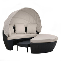 Erith Outdoor Wicker Day Bed w/ Footrest in Black