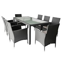 Monte 8 Seat Outdoor PE Wicker Dining Set in Grey