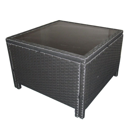 Black Wicker Coffee Table: Romano Outdoor Wicker Side Coffee Table In Black