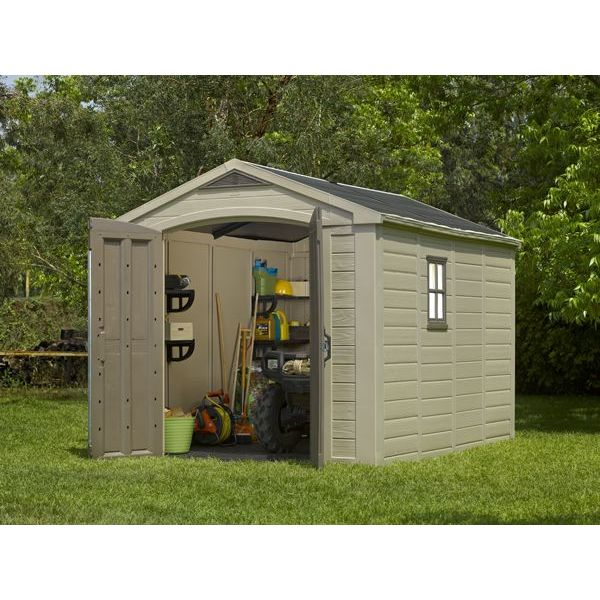 Keter factor outdoor storage garden shed 8x11ft buy for Cheap large garden sheds
