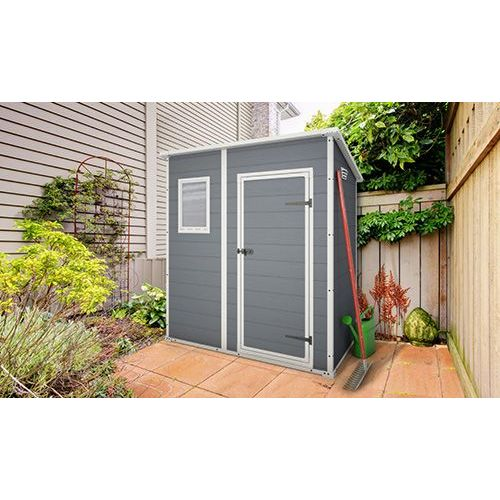 Keter manor outdoor storage shed grey white 6x4ft buy - Casetas pvc exterior ...