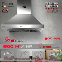 900mm Stainless Steel Kitchen Range Hood Wall Mount