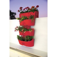Red Kamelia Saddle Planter and 2x Wall Planters