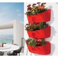 UV Protected Kamelia Red Vertical Wall Planter x3