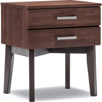 Selena Bedside Table Caramel/Brown with 2 Drawers