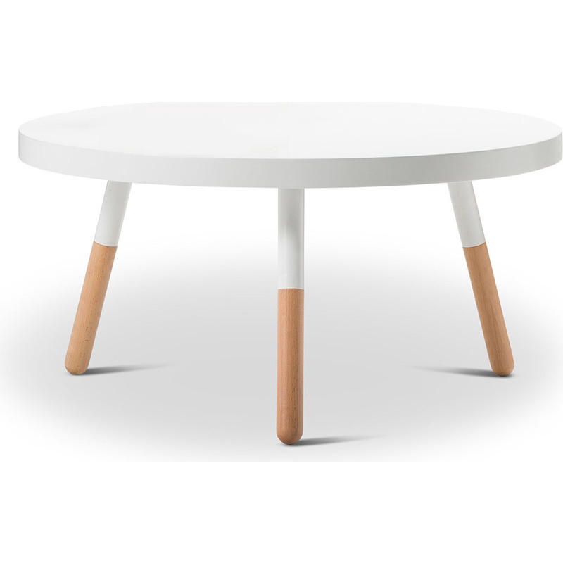 Scandinavian round coffee table w beech legs white buy for Beech coffee table