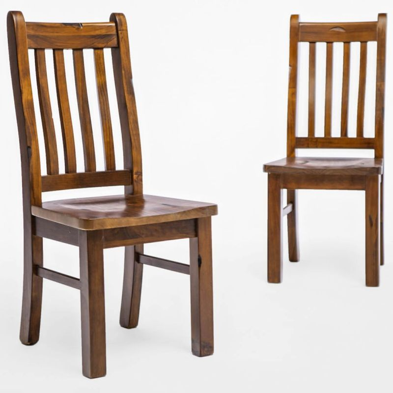 rustic chunky dining set w round table 6 chairs buy