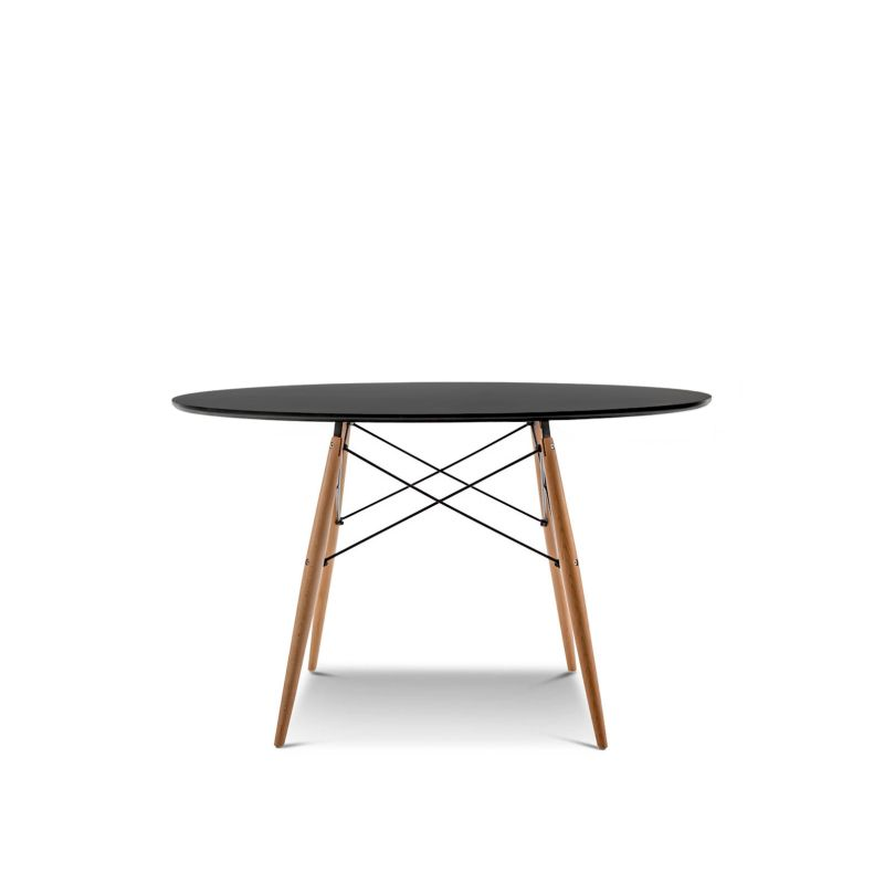 Eames dsw large round dining table replica in black buy for Table eames dsw