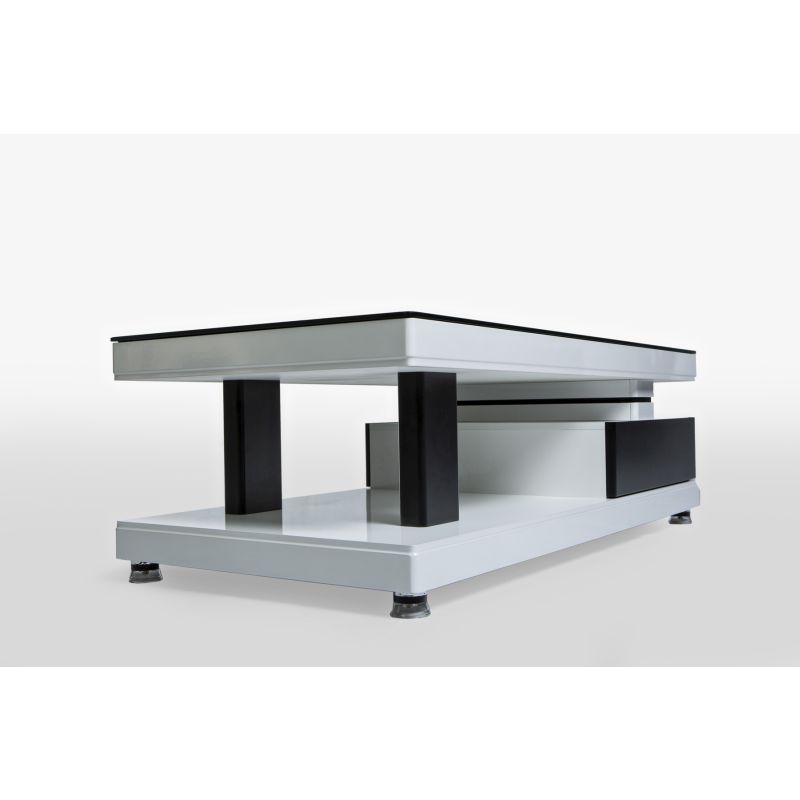 Modern Low Line 2 Drawer Coffee Table Black White Buy Tables