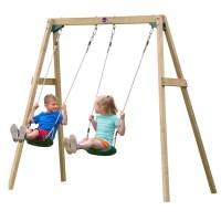 Plum Kids Playground Double Wooden Swing Set