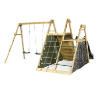 Plum Kids Swing Slide & Climb Wooden Playground