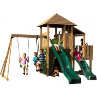 Plum Kids Wooden Swing Slide Jungle Gym Playground