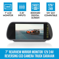 4 PIN 12/24V Rear View Mirror Monitor w 3 AV Inputs