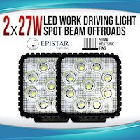 2x LED Flood Beam Driving Work Lights 12V/24V 27W