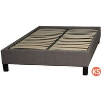 King Single Size Fabric Upholstered Bed Base Grey