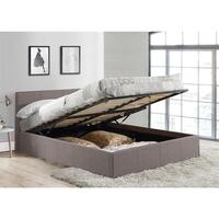 King Single Size Fabric Gas Lift Bed Frame in Grey
