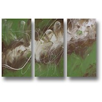3 Canvas Abstract Painting #20 Green Brown