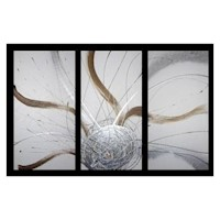 3 Canvas Abstract Painting #23 Brown Silver
