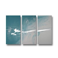 3 Canvas Abstract Painting #24 Turquoise Silver