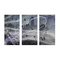 3 Canvas Abstract Painting #31 Silver Grey