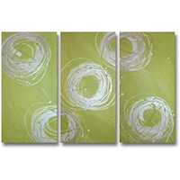3 Canvas Abstract Painting #32 White Green Silver