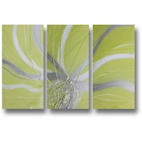 3 Canvas Abstract Painting #36 Green White Silver