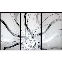 3 Canvas Abstract Painting #37 Black White Silver