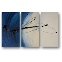3 Canvas Abstract Painting #41 Blue White Black