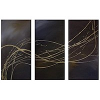 3 Canvas Abstract Painting #47 Brown And Gold
