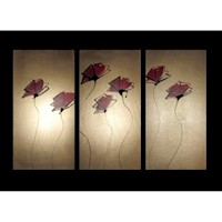 3 Canvas Abstract Painting #55 Gold Poppies